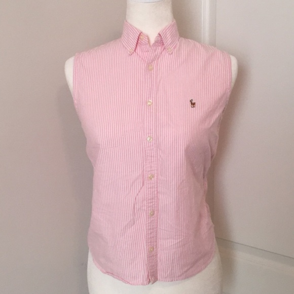 613580f452a278 Ralph Lauren Tops | Sport Stripe Buttonup Sleeveless Pink | Poshmark